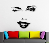 Wall Stickers Vinyl Decal Beautiful Woman Face Winks Sexy Lips Girl