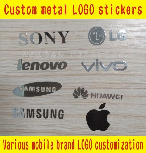 Custom samsung apple huawei lenovo all kinds of mobile phone brand logo metal stickers free shipping