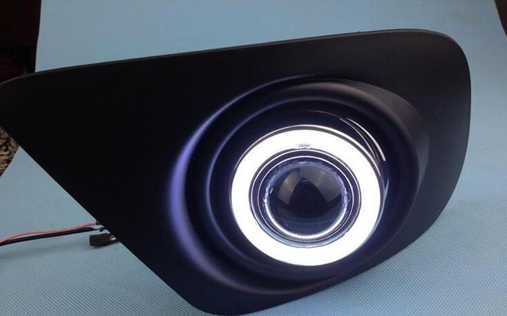 Новые инновационные cob Ангел глаз дневные ходовые свет + Галогенные Противотуманные фары объектив проектора для Dodge JCUV путешествие 2013, 2 шт