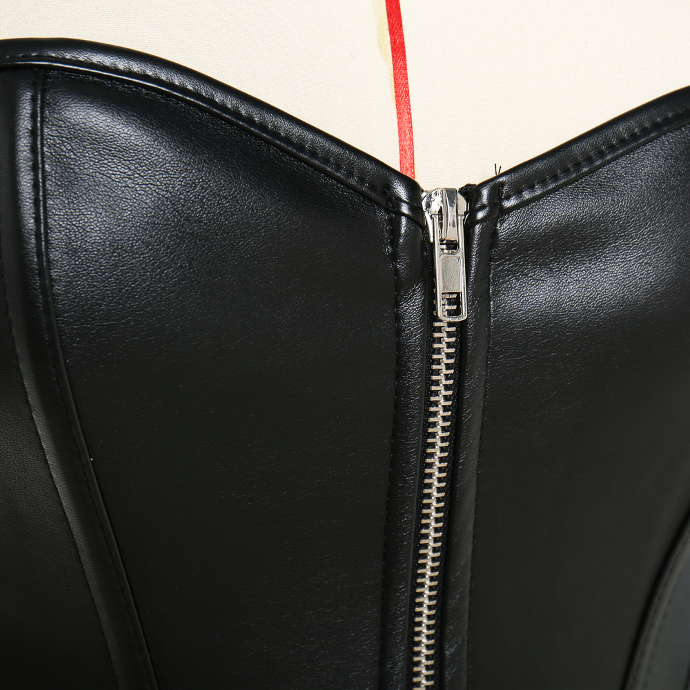 Sexy Women's Black Red Steampunk Overbust Corset