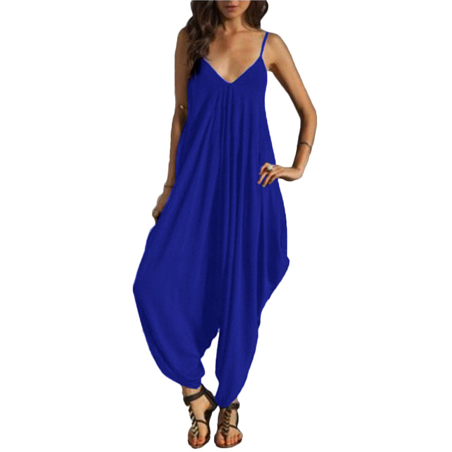 e87dd34c2f5 New Fashion Women Sexy Deep V-neck Backless Strap Jumpsuit Ladies Loose  Summer Beach Harem