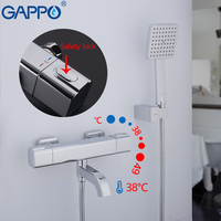 GAPPO Thermostatic Shower Faucets bath mixer taps with thermostat wall mounted shower mixer waterfall tapware shower head set