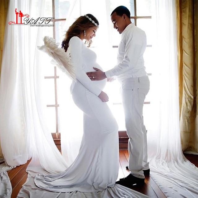 Simple White Pregnant Wedding Dress Court Train Long
