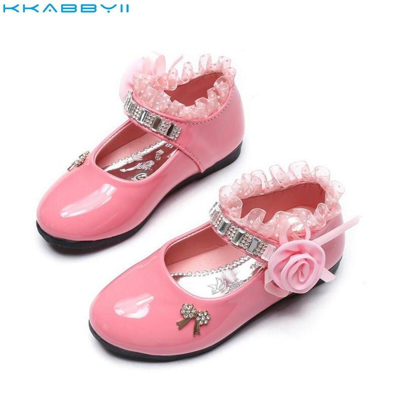 Kkabbyii Mädchen Pu-leder Schuhe Herbst Partei Schuhe Für Mädchen Blume Hochzeit Kinder Einzelnen Schüler Blume Prinzessin Baby Schuhe