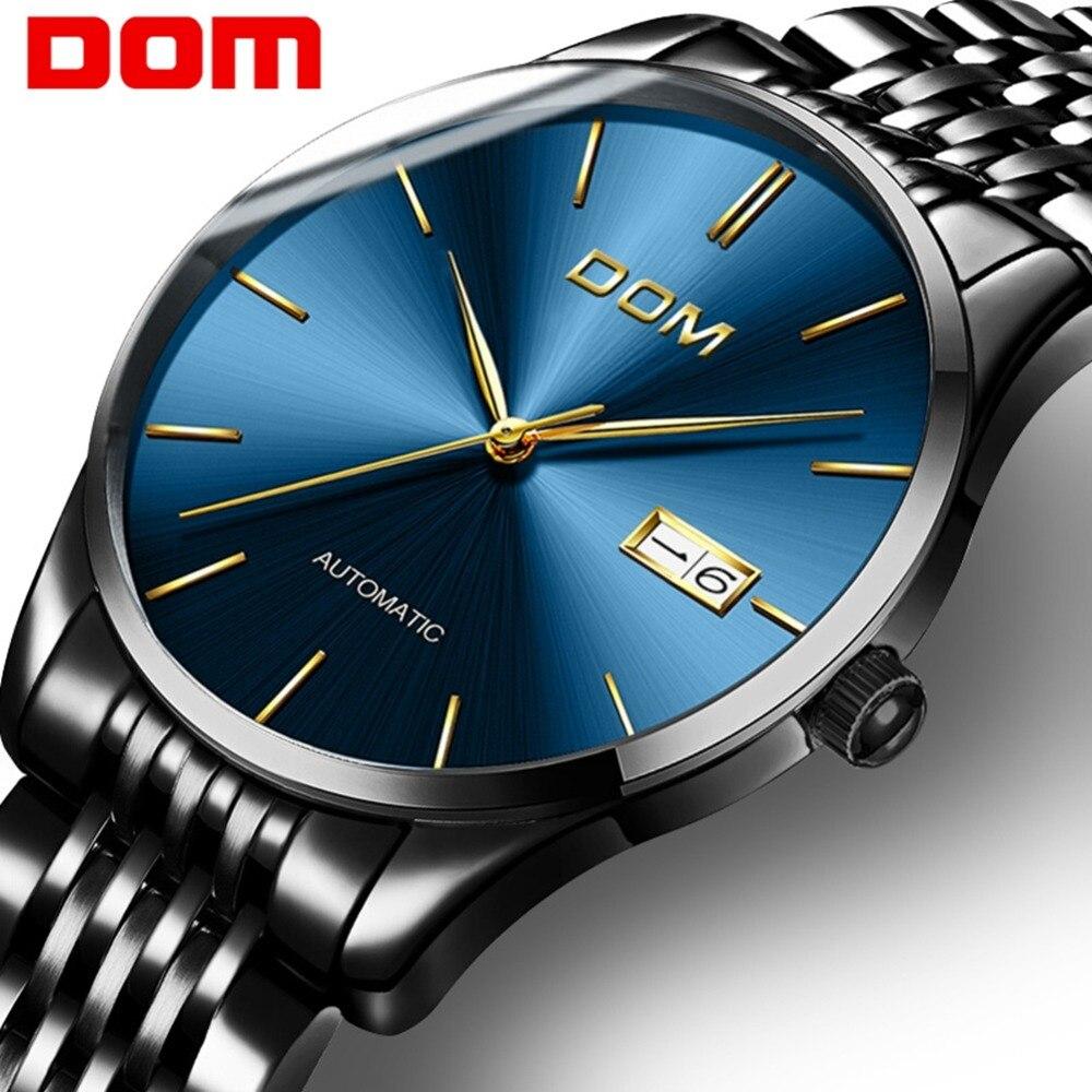 DOM Top marque de luxe hommes montres hommes horloges mode semaine affichage bracelet en acier étanche mécanique hommes d'affaires montre cadeau M-89