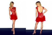 free shipping 2014 hot sexy new red lace short mini spot goods 4 size vestido de noiva prom evening gown Cocktail party Dresses