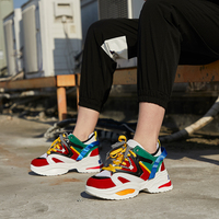 Женские кроссовки; разноцветная женская обувь на толстой подошве; ботинки с массивным каблуком, увеличивающие рост; женская повседневная о...