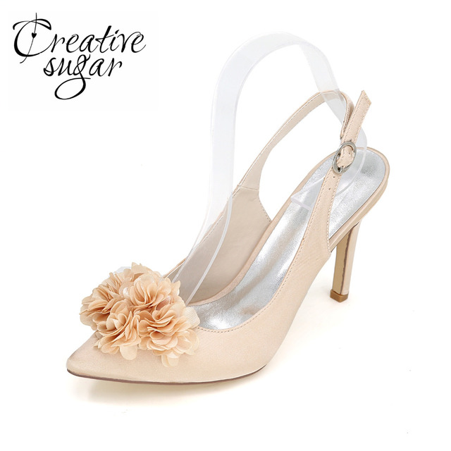 3eae057b95d8 Creativesugar Pointed toe slingback satin dress shoes 3D flower petal  elegant pumps wedding prom cocktail lady heels champagne
