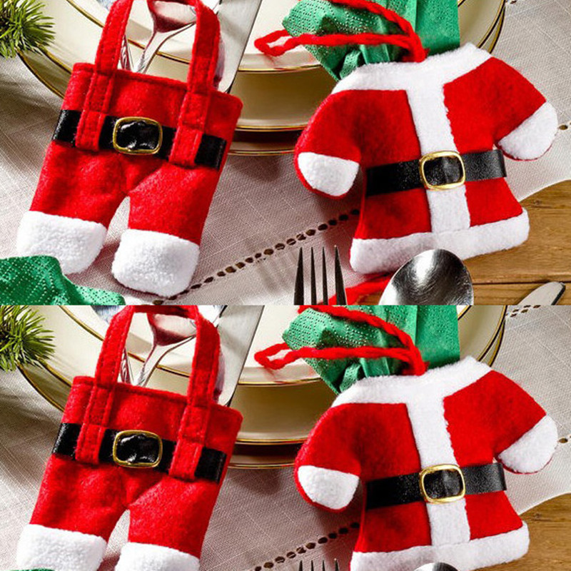 christmas silverware holder pockets - Christmas Silverware Holders