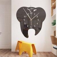Цифровое зеркало большие настенные часы Креативный дизайн зубов часы настенные часы Домашние украшения для гостиной