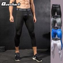 Queshark Professional для мужчин сжатия быстросохнущая Спортивные укороченные колготки брюки для девочек печати Baselayer женские майки для бега леггинсы женщин