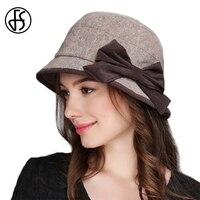 FS Winter Wool Dress Hats For Women Wide Brim Fedora Bowknot Church Hats Lady Gray Khaki Warm Cap Foldable Casual Bowler Caps