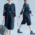 2016 Inverno Nova Moda das Mulheres Coreano Solto Tamanho Grande Camisola Hoodies Bordado Longa Seção de Veludo Espessamento Suéter