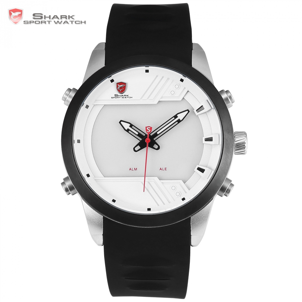 Sawback Angel Shark Sport Watch NEW Design LED 3 D White Box Calendar Alarm Dual Movement Silicone Strap Men Wristwatch / SH541 goblin shark sport watch 3d logo dual movement waterproof full black analog silicone strap fashion men casual wristwatch sh165