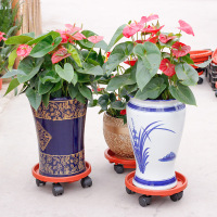 1pc Plastic Plant Flower Pot Stand Trolley Caddy On Indoor Outdoor Home Garden Tools With Wheels Moving