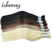 isheeny 22 Inches European Straight Remy Hair Extensions Natural Color 100g/ Bundle Bulk Human Hair