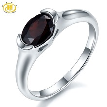 Hutang 1.4Ct Mystery Black Garnet Solid 925 Sterling Silver Ring Natural Oval Gemstone Womens Fine Jewelry Birthstone