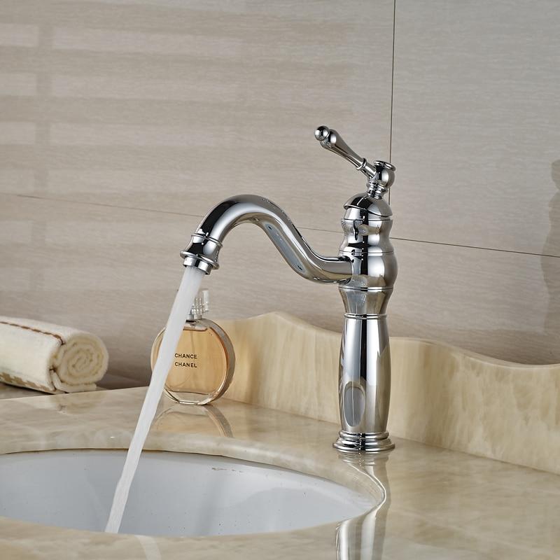 ФОТО Polished Chrome Single Lever Lavatory Sink Mixer Faucet Deck Mount One Hole Basin Faucet