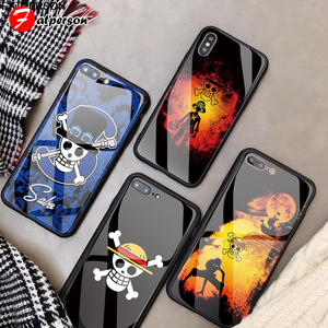 One Piece Customized Glass Phone Cover for iPhone 11 Pro X R S MAX case DIY Monkey D Luffy Phone Case for iPhone 8 6s 7 Plus(China)