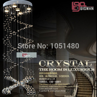 holiday sales modern LED crystal chandelier spiral staircase chandelier