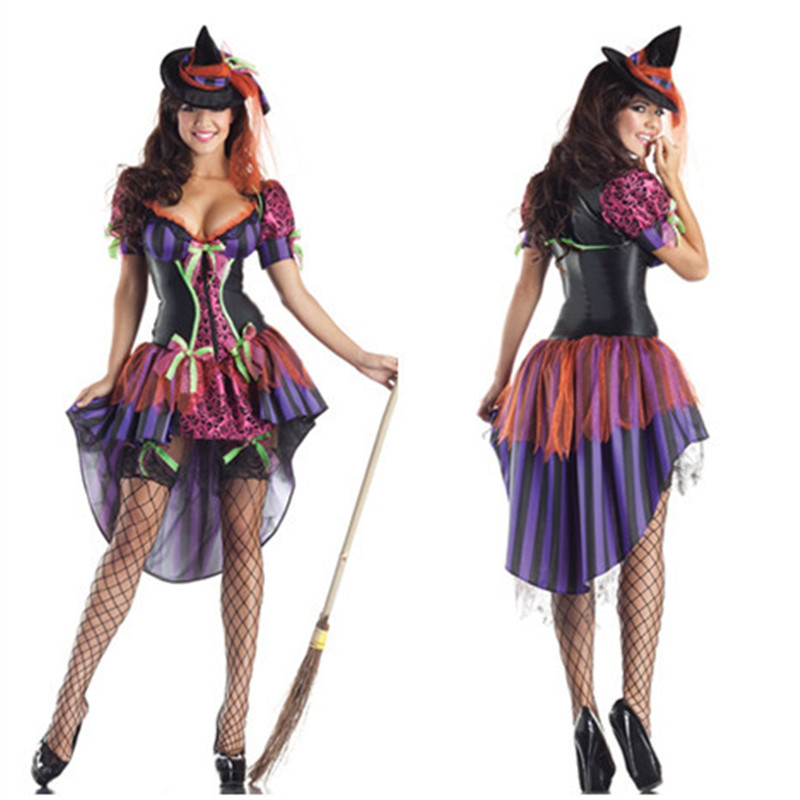 <font><b>2018</b></font> New <font><b>Sexy</b></font> multicolor witch dress <font><b>Halloween</b></font> Masquerade Vampire count Cosplay <font><b>Women</b></font> Costumes Stage Arrival Tempted Clothing image