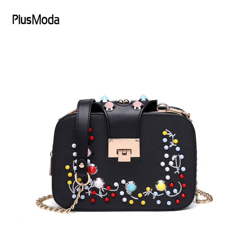 High Qaulity Women Shoulder Bag Rivet Chain Messenger Bags 3 Pockets Small Crossbody Bag Famous Brand Female Handbag Purse 2017