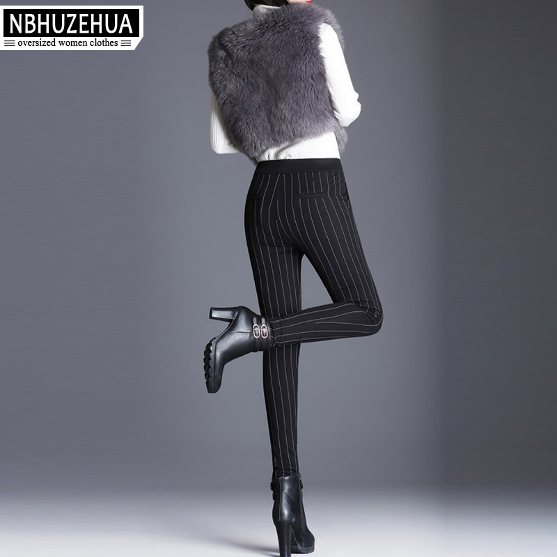 T718 Estrechos Vintage Invierno Caliente Plumas Pants Nbhuzehua 7xl Tamaño 5xl Alta 4xl Stripe Abrigos Mujeres Más 6xl Pantalones Women Cintura De awfqxdx6