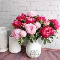 7 Heads Set Artificial Silk Peony Flower Bouquet European Style Multicolor Silk Flower Home Hotel Wedding