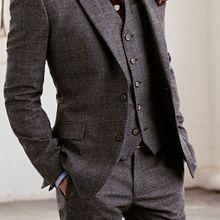 Изготовленный на заказ для измерения мужской костюм, на заказ Серый Свадебный костюм жениха с широким отворотом, индивидуальный смокинг(пиджак+ брюки+ галстук+ карман squaure