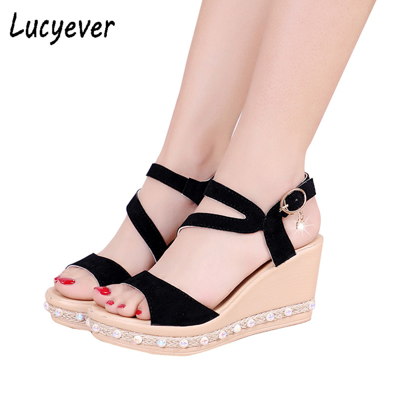 Lucyever 2018 Summer Women Ankle Strap Sandals High Heels Wedges Platform Open Toe Pumps Woman Comfortable Platform Shoes Woman ribetrini women hot sale cow leather low heel wedges summer casual shoes woman ankle strap open toe platform sandals size 34 39