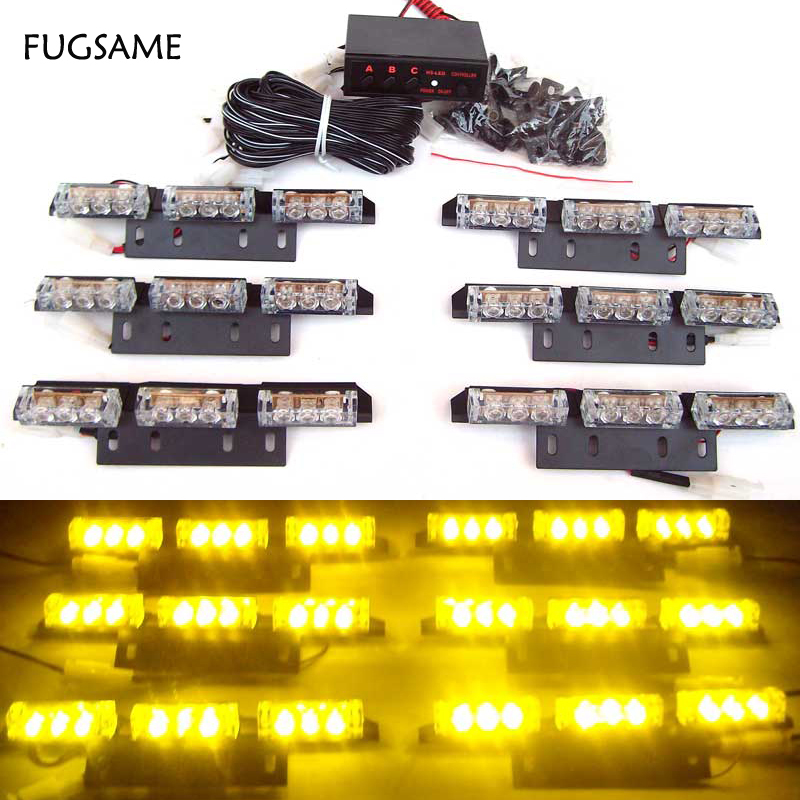 FUGSAME 54LED Warning Blinking Strobe Flash Lightbar Deck Dash Grille LED EMERGENCY STROBE LIGHTS 3Mode 12V red blue amber white 54 led emergency vehicle strobe lights bars warning deck dash grille amber white