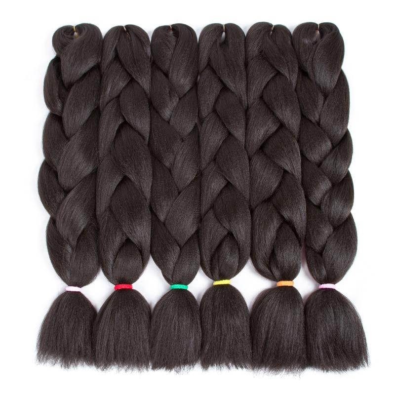 "ELEGANT MUSES 6packs 24"" 100g Jumbo Braids Hair Extensions Synthetic Hair For Crochet Black Kanekalon Xpression Hair Extensions"