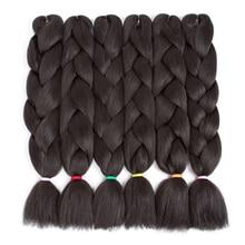 "ELEGANT MUSES 6Packs 24 ""100 גרם ג'מבו בריידס לשיער שיער סינתטי לשיער קנצ'לון שחור"