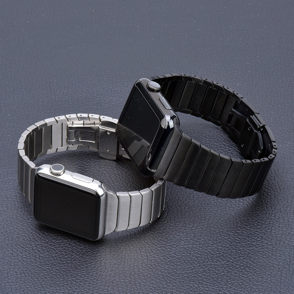Correa de acero inoxidable para Apple Watch banda 44 mm 40mm iWatch banda 42mm/38mm mariposa hebilla Metal pulsera Apple watch 5 4 3 21