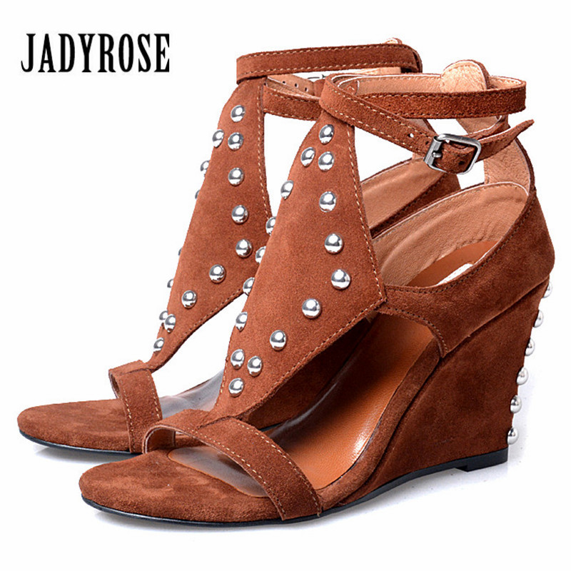 Jady Rose Brown Wedges Shoes for Women Rivets Studded Summer Gladiator Sandals Suede Platform High Heel Sandal Wedges 2017 summer new rivet wedges sandals creepers women high heel platform casual shoes silver women gladiator sandals zapatos mujer