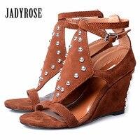 Jady Rose Brown Wedges Shoes For Women Rivets Studded Summer Gladiator Sandals Suede Platform High Heel