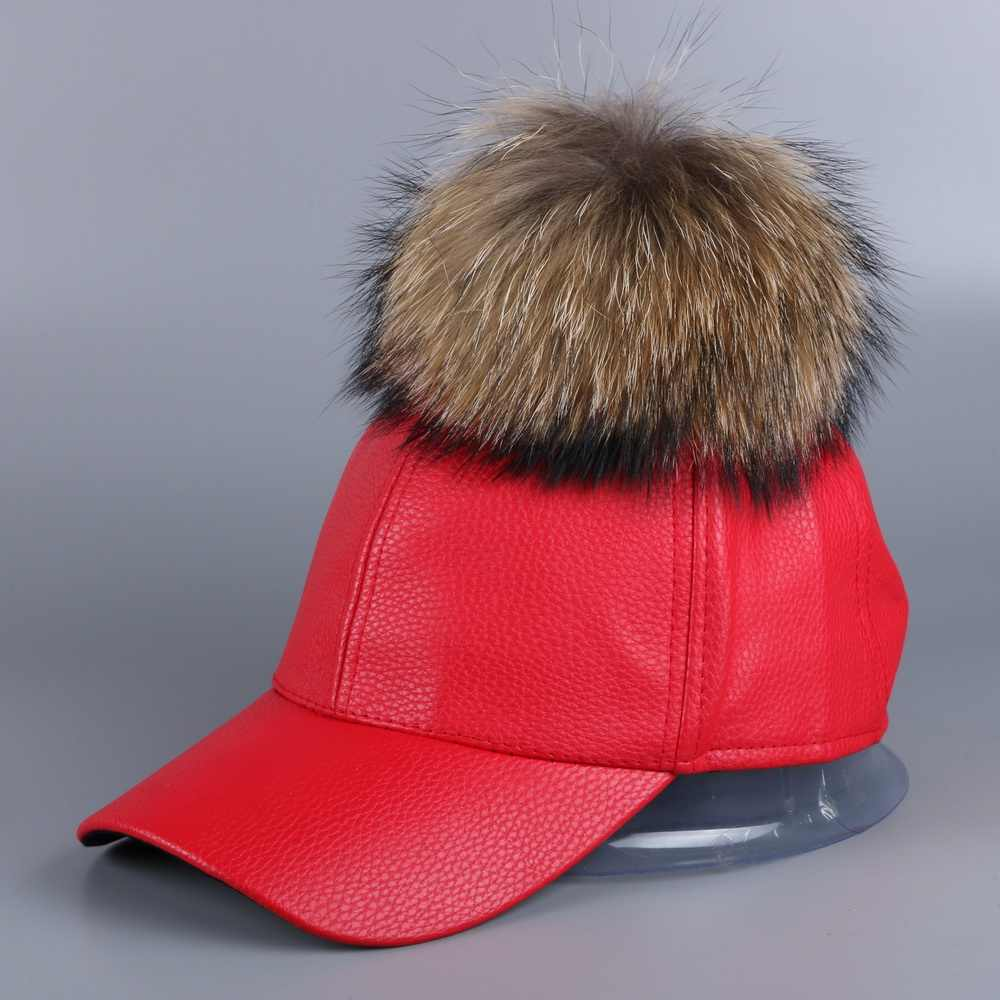 c1fd210ee955a1 ... mink and fox fur ball winter hat for women pu leather pompom luxury baseball  cap for