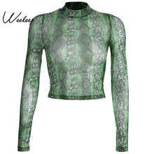 Weekeep Women Sexy Snake Print Perspective t shirt Bodycon Long Sleeve O-neck tshirt Streetwear Cropped Mesh Top tee shirt femme