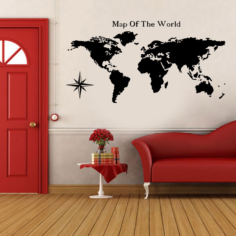 Map Of The World Home Decor Wall Sticker Decals Living Room Vinilos Paredes DIY Decorativo Removable Mural Wallpaper Compass C24
