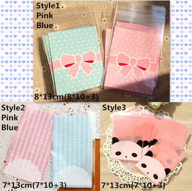 500 PCS 8x13cm Bowknot Panda Packaging Self Adhesive Bags Plastic OPP  Jewelry Gift Bag Cookie Poly Bag 22fa46b33c6d4