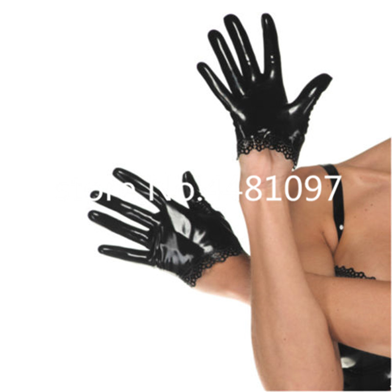 Sexy Black Latex Rubber Gloves Lace Edge for Club Catsuit Wear victorian gauntlets