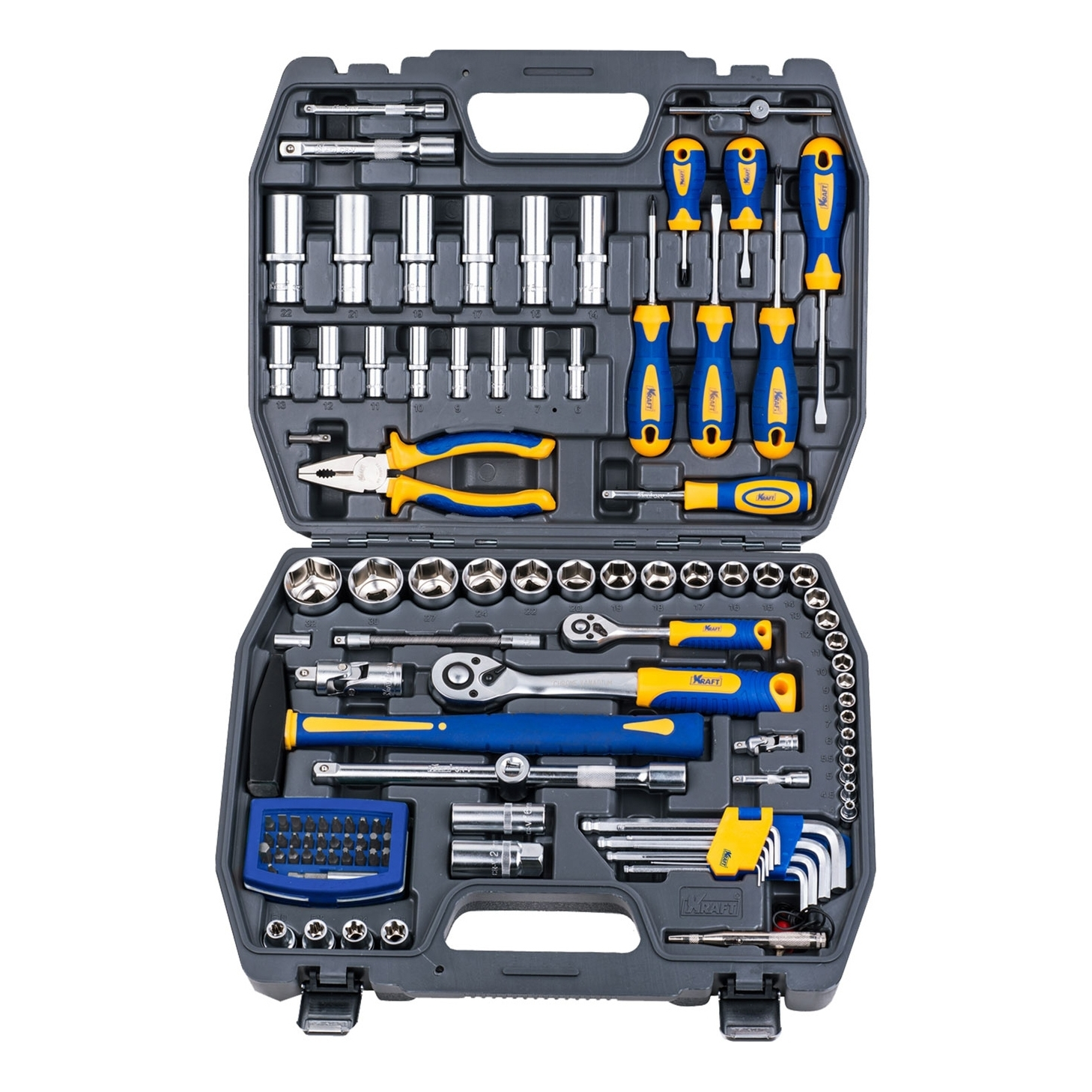 Set hand tool KRAFT CT 700678 (109 items, end head screwdriver, extension cords, end head, case) цена в Москве и Питере