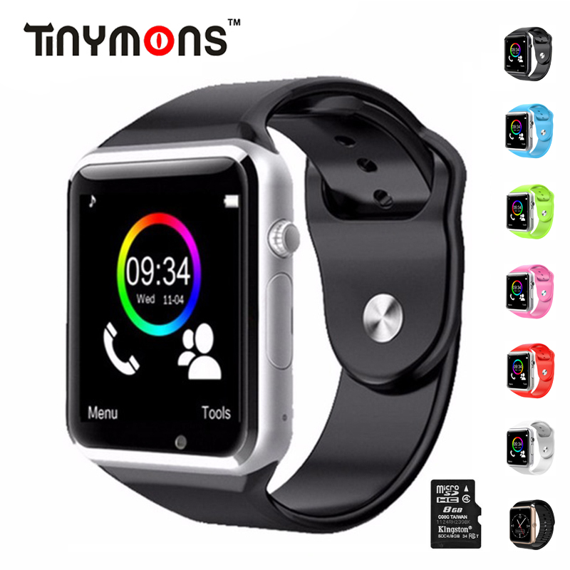 Tinymons montre-bracelet Bluetooth montres intelligentes podomètre avec SIM TF carte caméra intelligente horloge d'appel pour IOS Android téléphones A1
