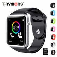 Tinymons montre-bracelet téléphone Bluetooth montres intelligentes avec SIM TF carte caméra intelligente horloge d'appel pour IOS Android téléphones A1