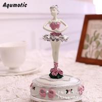 Aqumotic Ballet Girl Music Box Dancing Rotate Ballerina Musical Boxes Electronic Decor Holiday Gifts Birthday Present