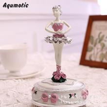 Aqumotic Ballet Girl Music Box Dancing Rotate Ballerina Musical Boxes Electronic Decor Holiday Gifts Birthday Present Beauty