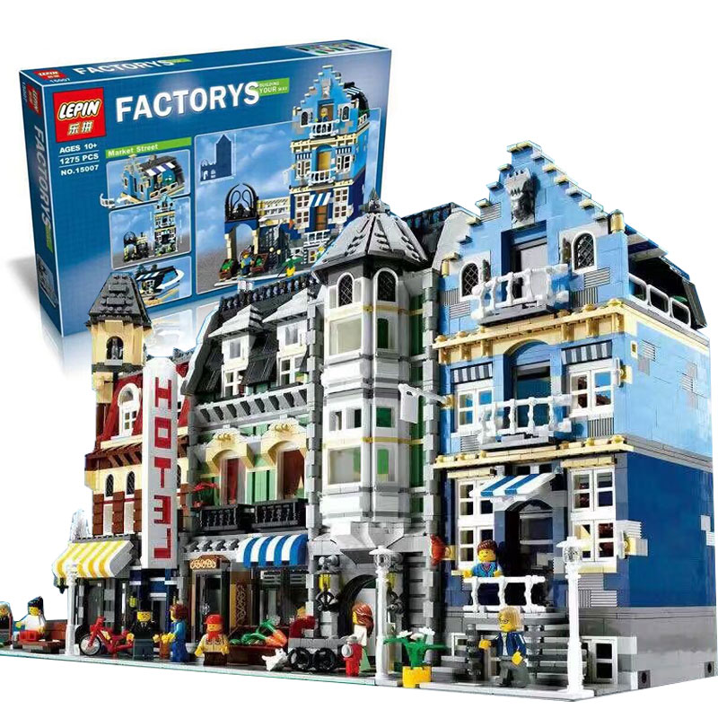 IN STOCK DHL Lepin 15007 1275Pcs Factory City Street The Legoing 10190 European Market Model Building Block Set Bricks Kits a toy a dream lepin 15008 2462pcs city street creator green grocer model building kits blocks bricks compatible 10185