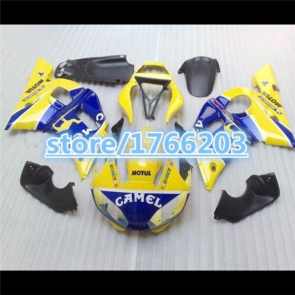 Kit de carénage pour YZF R6 98-02 YZF-R6 98 99 00 01 02 jaune bleu noir YZF R6 1998 1999 2000 2001 2002 kit de carénage Ning