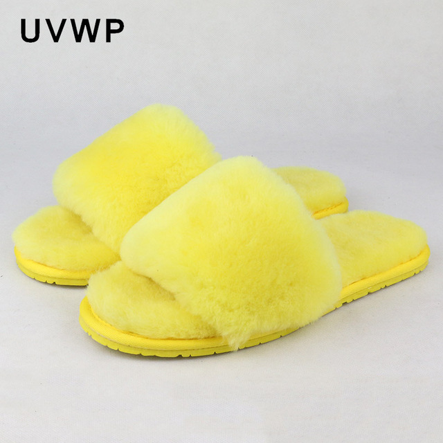 Natural Sheepskin Wool Home Slippers Women Fur Slippers Woman Winter Indoor  Slippers Warm Furry House Slippers