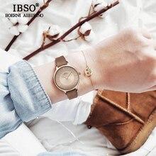 IBSO бренд 8 мм ультратонкий кварцевые часы Для женщин из натуральной кожи Для женщин часы 2018 роскошные женские часы Montre Femme